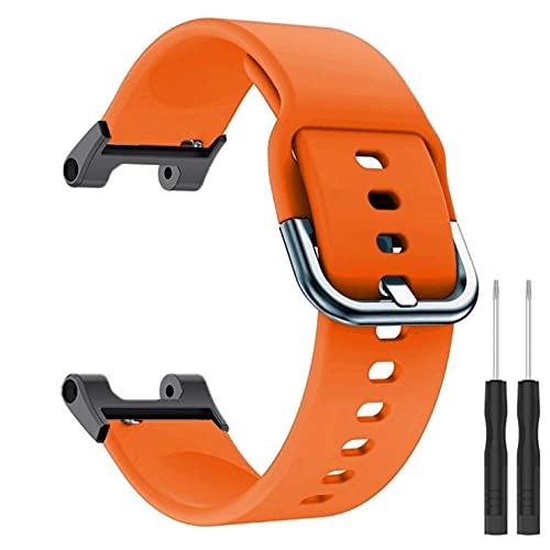 KangPlus Compatible con bandas de reloj Amazfit T-Rex, correa de repuesto de silicona suave, transpirable, ajustable, con herramienta de instalación para mujeres y hombres, color naranja