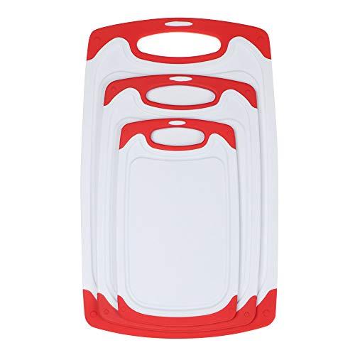 3 piezas sin BPA para fregadero de frutas de cocina y comedor, cesta de drenaje de tabla de cortar, cestas de almacenamiento para cortar bloques de cortar (rojo)