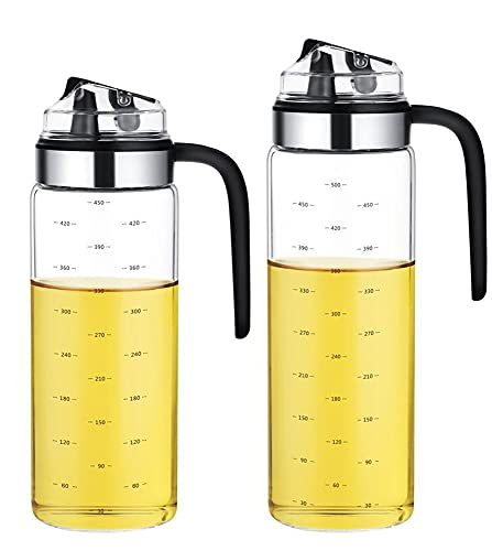 Botella Aceite, Dispensador de Vinagre y Aceite de Vidrio con Pico Vertedor, Dispensador de Aceite de Oliva con Tapón Anti-suciedad, 550ml+500ml