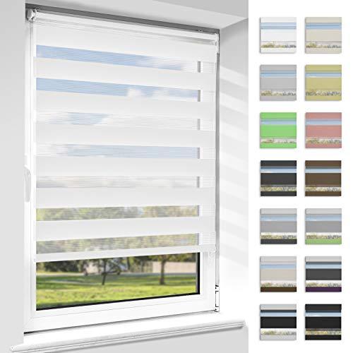 OUBO Doppelrollo Klemmfix ohne Bohren Duo Rollos für Fenster & Türen (Weiß, 40cm x 150cm), Klemmrollo Seitenzugrollo Sicht und Sonnenschutz, Lichtdurchlässig und Verdunkelnd.