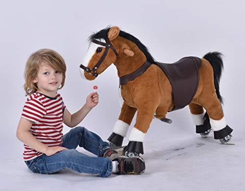 Ufree Caballo de acción Pony, juguete de caballo caminante, caballo balancín con ruedas para niños de 3 a 5 años