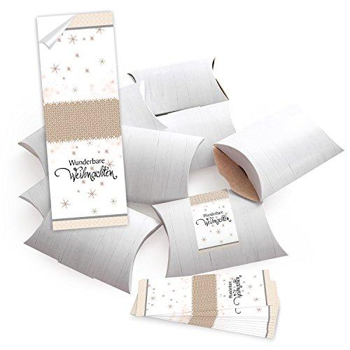 10 kleine Geschenkschachteln Geschenk-Boxen Kartons, weiß 14,5 x 10,5 + 3 cm mit Aufkleber Banderole beige weiß schwarz WUNDERBARE WEIHNACHTEN - selber basteln und befüllen