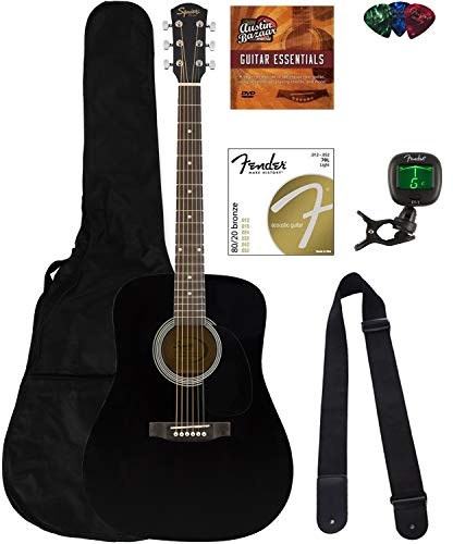 Fender Squier Dreadnought Acoustic Guitar - Black Bundle with Fender Play Online Lessons, Gig Bag, Tuner, Strings, Strap, Picks, and Austin Bazaar Instructional DVD