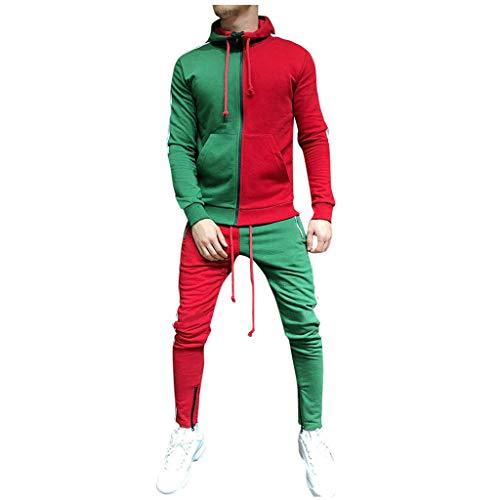 Subfamily Conjunto de Pantalones de Suéter con Cremallera y Paneles de Manga Larga con Bolsillo para Hombres, Patchwork Cremallera Sudadera Top Pantalones Conjuntos Traje Deportivo Chándal Verde XXXL