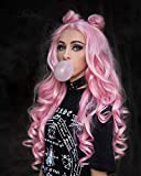 IMSTYLE Long Pink Lace Front Wigs Synthetic Hair Replacement Wigs Lolita Baby Pink Heat Resistant Natural Wavy Hair Wig for Women 24 Inch