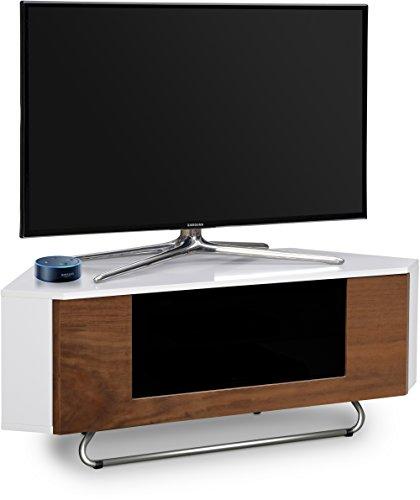 Centurion supporta Hampshire corner-friendly Gloss bianco con nero rovere o noce contrasto fascio-thru remoto amichevole porta TV a schermo piatto cabinet 66- 127cm Walnut Door