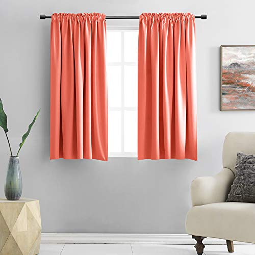 DONREN Coral Blackout Curtain Panels with Rod Pocket - Room Darkening Thermal Insulated Curtains for Bedroom (42 W x 45 L Inch,2 Panels)