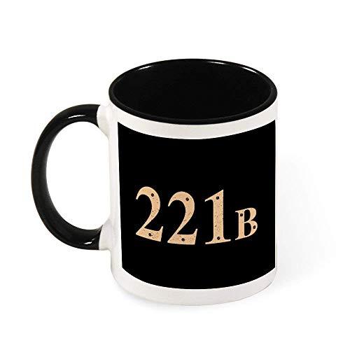 N\A 221B Baker Street Sherlock Holmes Address Taza de café de cerámica Taza de té, Regalo para Mujeres, niñas, Esposa, mamá, Abuela, 11 oz