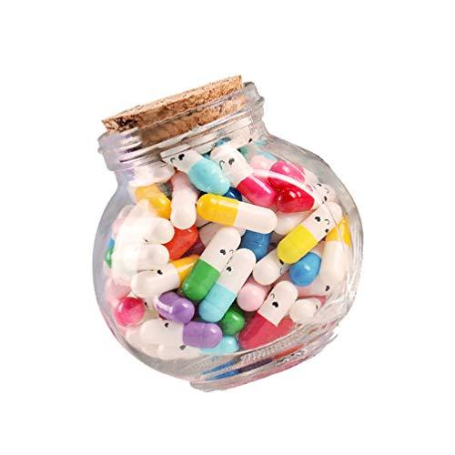 WINOMO Mensaje en cápsulas de 100 unidades en una botella de cristal, botella de deseos con mensaje de letras, simpático mensaje de letras en cápsula. Sorridente para regalo de