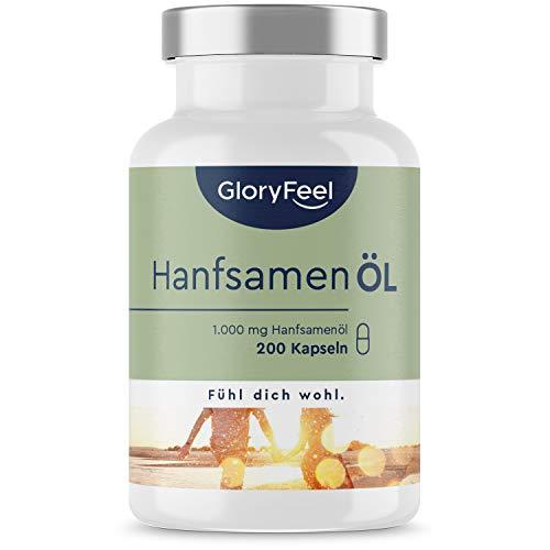 Hanföl Kapseln - 1000mg kaltgepresst - Cannabis Sativa Oleum - 200 Stück (7 Monate) - Enthält pflanzliche Omega 3 + 6 + 9 Fettsäuren - Laborgeprüft in Deutschland hergestellt