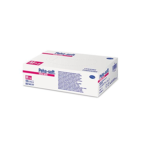 De seguridad guantes PEHA-soft nitrilo Colour blanco polvere libre talla L, 200 pcs