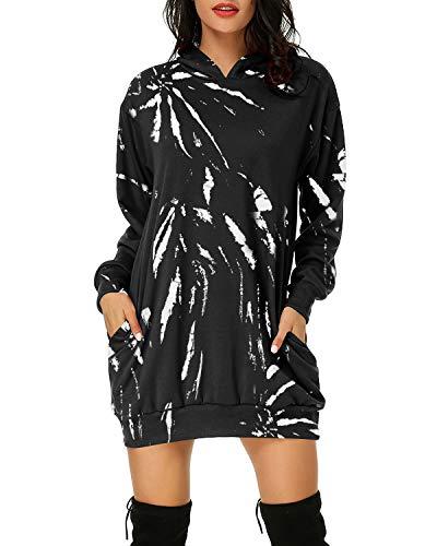 Auxo Mujer Sudaderas con Capucha Largas Tallas Grandes Vestidos Sudadera Hoodie Tie Dye Manga Larga Casual Jersey 02-Tie Dye Negro S
