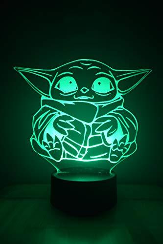 Bebé Yoda 3D LED Ilusión Lámpara de Luz de Noche al lado de la Mesa Colores Cambio Automático Interruptor Táctil Decoración Escritorio Control Remoto