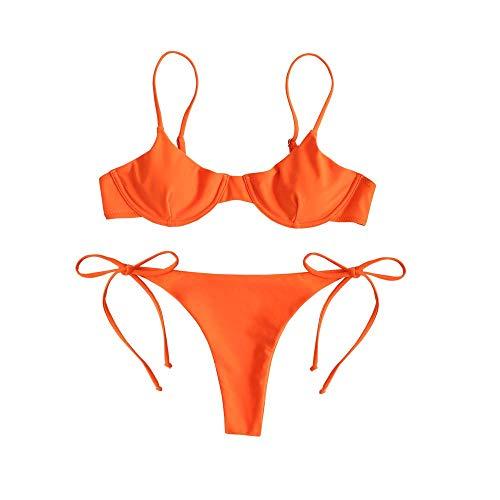 ZAFUL einteiliger Bikini Set mit Krawatte Bügel Balconette & ARO Bottom Swimwear für Damen (Orange, M)