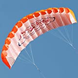 SDCVRE Cometas 140cm Cometas Doble línea Parafoil Stunt Kite Trenza Vela Surf Rainbow Kite Deportes al Aire Libre Kite de Juguete Herramientas de Vuelo, Naranja