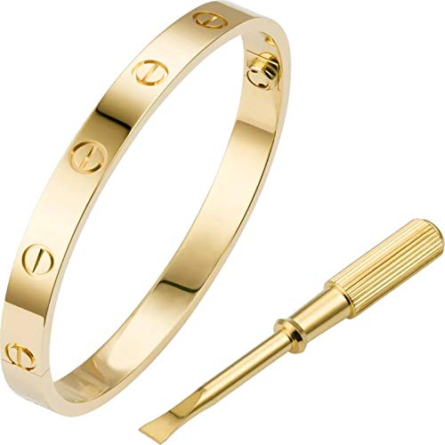 Love Bracelet Bangle with Screw Design Stainless Steel Hinged Jewelry Best Gifts for Love with Valentines Day Mothers Day Anniversary and Birthday for Men Women and Girls… (Gold, 7.5)