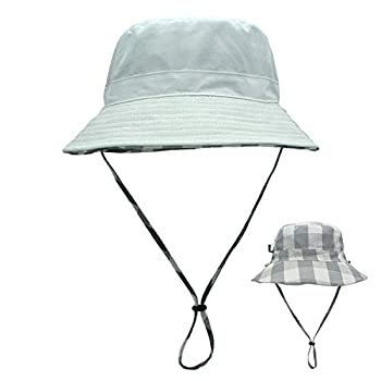 LLmoway Women Cotton Boonie Sun Hats Foldable Bucket Hat with Chin Strap Reversible Beach Hat White
