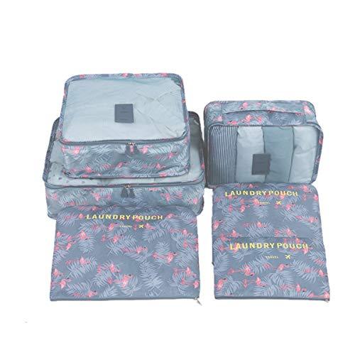 Mood Milano - Travel Kit Organizer set valigia a fantasia con portascarpe, laundry bag, necessaire, beauty e 2 pochette (fenicotteri)