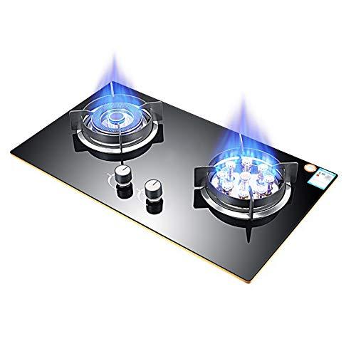 MILECN Estufa De Gas Doble Combustible Sellado 2 Quemadores Templado Estufa De Gas De Vidrio Encimera De Gas Empotrable con Protección De Termopar Y Fácil De Limpiar,Natural Gas