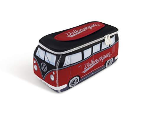 BRISA VW Collection - Volkswagen T1 Bulli Bus Universal-Schmink-Kosmetik-Kultur-Reise-Hausrats-Tasche-Mäppchen-Beutel (Neopren/Rot/Schwarz)