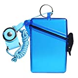 Sport Waterproof ID Card Badge Holder Case with Lanyard Cover Multiple Credit Cards, Registration, ins Card Heavy Duty Durable Locker,Dry Box (Clear Blue)