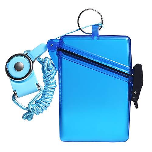 スポーツ防水IDカードバッジホルダーケース付きストラップカバー複数のクレジットカード、登録、Insカードヘビーデューティ耐久ロッカー、ドライボックス 防水シガレットボックス (透明な青)