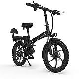 LOMJK Bicicleta eléctrica Plegable para Adultos, Bicicleta de montaña de Hombres, Bicicleta eléctrica de 14 Pulgadas/Bicicleta eléctrica de cercanías con Motor de 240W, batería de 48V 12Ah