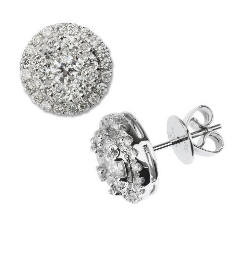 14 K oro blanco diamante pendiente del perno prisionero redondo racimo de 1,45 Ct diamantes H-I Color I1-I2 claridad