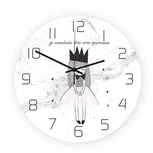 N /A Reloj de Pared 30Cm Plástico Estilo nórdico Crown Princess Quartz Moderno Hermoso y Duradero para Decorar la Sala de Estar Comedor Dormitorio Cocina Estudio