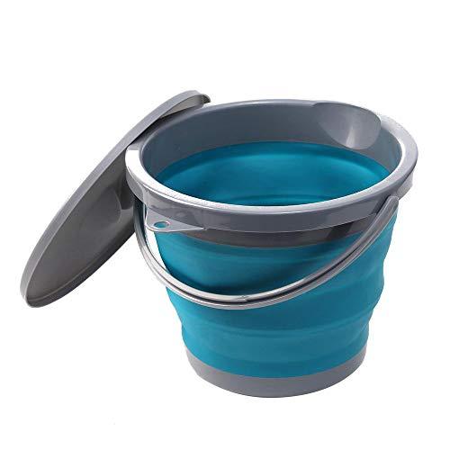 DIYARTS 5L Faltbare Wassereimer mit Deckel Runde tragbare und Faltbare Kunststoff PP TPR Material Angeln Eimer für den Außenbereich Innenbereich