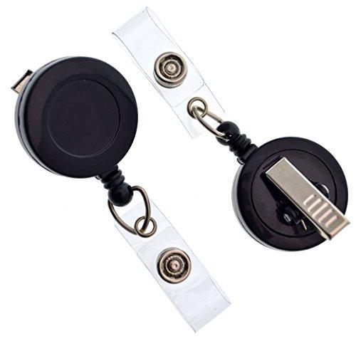 25 Pack - Bulk Premium Black Retractable Badge Reels with Alligator Swivel Clip & Vinyl Card Holder Strap by Specialist ID - Bulk Premium Black Retractable Name Badge Reels with Alligator Swivel Clip
