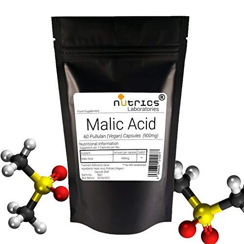 Nutrics® 100% ácido málico puro 900 mg | 180 cápsulas (3 meses de suministro) | Fabricado en el Reino Unido por Nutrics Laboratories | Apto para vegano Halal Kosher