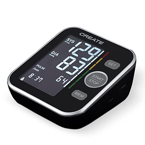 CREATE BIPCARE - Tensiómetro de Brazo Digital, Monitor de Presión, Arterial Automatico con Gran Pantalla LCD, 120 mediciones para cada usuario, Incluye una Guía de Voz, Calibrado con Precisión