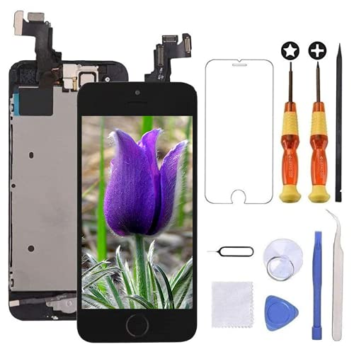 Brinonac Display per iPhone 5s/se Schermo 4,0 Pollici Schermo LCD Touch Parti di Ricambio con Home Pulsante, Fotocamera, Stanghetta,Sensore Flex Utensili Inclusi (Nero)