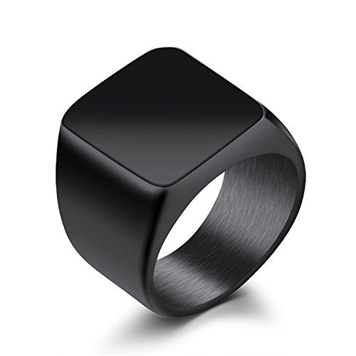 Para hombre motorista de banda de anillo de sello cuadrado de acero inoxidable alta Polaco, Plata/Negro/Oro, tamaño 7–11