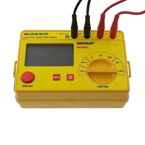 BJLWTQ Amarillo miliohm Medidor LCD 0,1 M en -20K 6 Postions precisa Amplia EM480C Resistencia Rango de medición del medidor