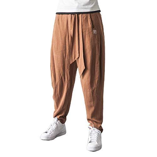 Pantalones de Hombre Pantalones Casuales de Primavera y Verano Pantalones de algodón y Lino Personalizados Pantalones de harén Pantalones Florales Bordados Pantalones Anchos
