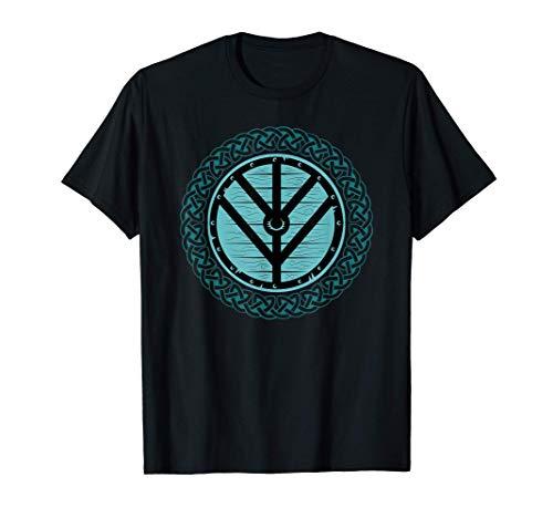 Viking Shield Maiden Teal Shield & Celtic knots surround T-Shirt