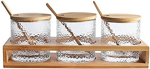 Spice Jars Box Keuken Opslag Organisatie Spice Container Glas Kruidendoos Spice Jar Zand Kruiden Bamboe Opbergdoos…