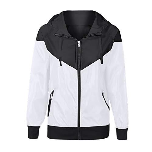 Xmiral Damen Mantel Patchwork dünne Kapuze Reißverschlusstaschen Sport Outcoat (S,Weiß)