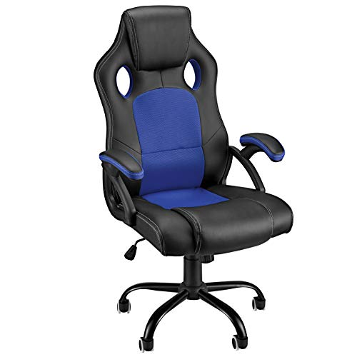 Gaming Chair Ergonomic Office Chair High Back Computer Desk Chair Racing Video Game Chairs with Comfortable Armrest PU Leather Mesh Adjustable Swivel Silent Rolling Wheels for Teens/Kids/Gamer, Blue