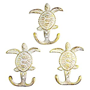 Distressed White Sea Turtle Cast Iron Wall Hook 4 ...