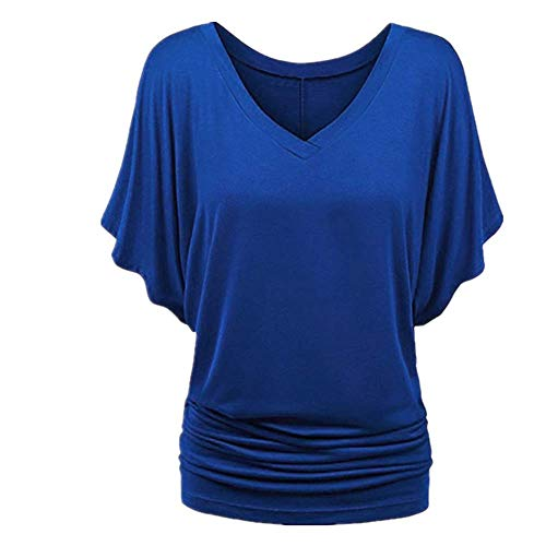 N\P Batwing manga camiseta sólida camiseta casual verano señora v-cuello túnica mujer manga corta camisa - azul - XXX-Large