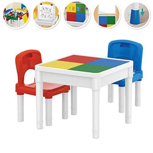 deAO Spielcenter 3in1 Mehrzweck Tabelle zum Kleinkind Enthält Blöcke und 2 Stühle
