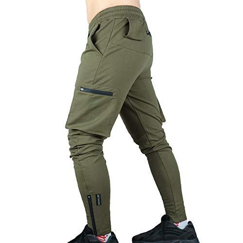 Pantalones de Jogging de Moda para Hombre, Bolsillos Laterales con Cremallera de Color sólido, Ajuste Delgado, Transpirable, Deportivo, Reloj Deportivo, Pantalones con pies de Haz Medium