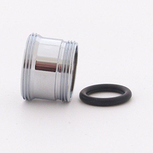 Adapter / Reduzierstück M20x1 Außengewinde auf M22x1 Außengewinde - lange Ausführung - zum Anschließen von Wasserhahn-Vorsatzgeräten an Armaturen mit M20x1 Innengewinde