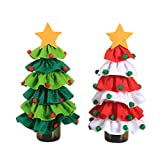Decoración de la botella de vino Botella de vino de Navidad Cubierta - 2 piezas de árbol de Navidad de punto Conjunto suéter feo for la decoración de la tabla del banquete cena de Navidad Bolsa de vin