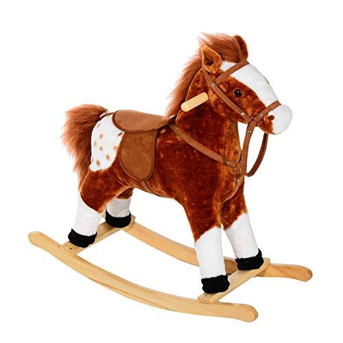 ZIEM Cavallo a Dondolo in Peluche con Suoni per Bambini Marrone