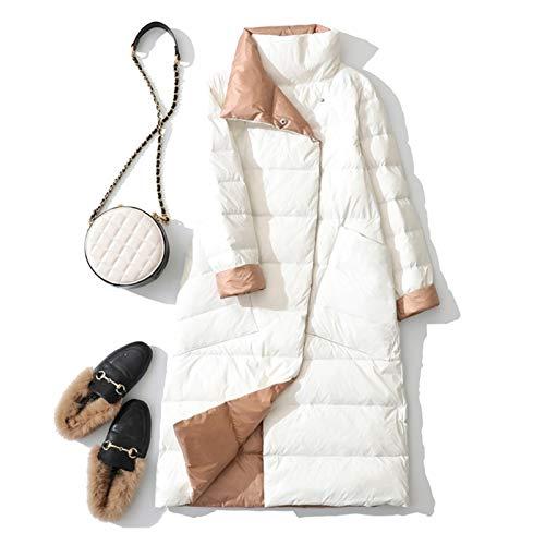 ZYHWS - Chaqueta de plumón de pato para mujer, color blanco y negro, doble cara, para nieve, largo parkas cálido para mujer (color: blanco, tamaño: XXL)