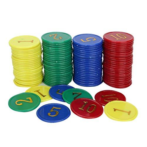 Pwshymi Contadores de plástico de Colores Contando fichas Juego de plástico Monedas Fiesta Los Mejores Juguetes de Burbujas Aprendizaje Ejercicio Educativo